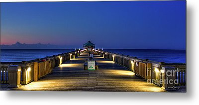 Metal Print featuring the photograph Here It Comes Now Folly Beach Pier Sunrise Art by Reid Callaway