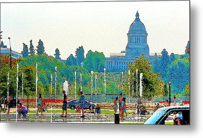 Metal Print featuring the photograph Heritage Park Fountain by Larry Keahey
