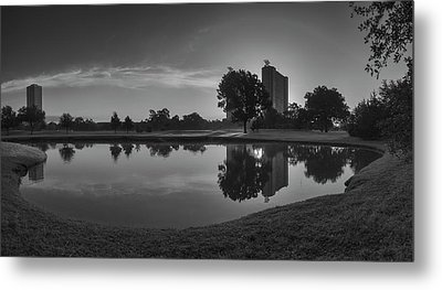 Metal Print featuring the photograph Hermann Park Sunrise Black And White by Joshua House