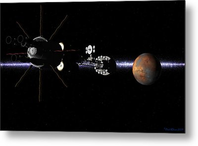 Metal Print featuring the digital art Hermes1 In Sight Of Mars by David Robinson