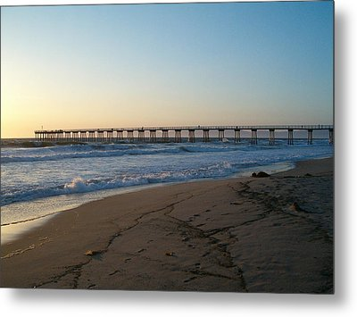 Hermosa Beach Pier At Sunset Metal Print