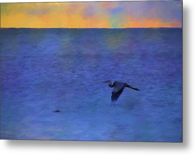 Metal Print featuring the photograph Heron Across The Sea by Jan Amiss Photography