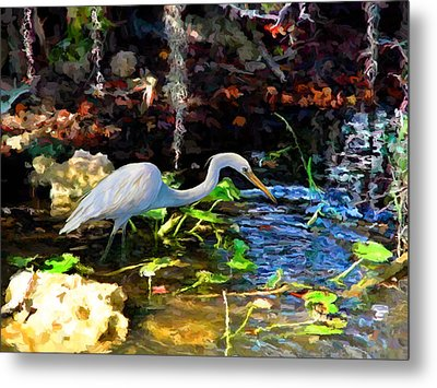 Metal Print featuring the painting Heron In Quiet Pool by David  Van Hulst