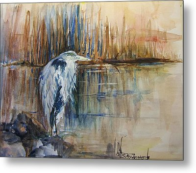 Heron In The Reeds 1 Metal Print by Sukey Watson