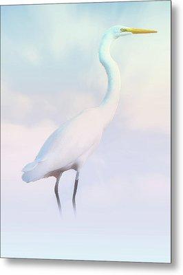Heron Or Egret Stance Metal Print