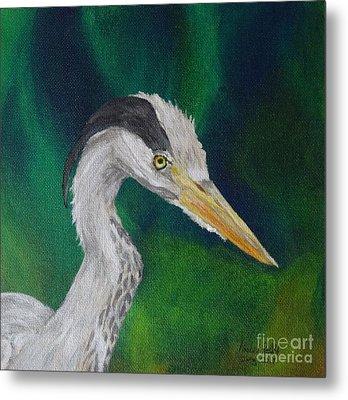 Heron Painting Metal Print by Isabel Proffit