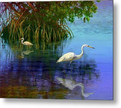 Herons In Mangroves Metal Print by David  Van Hulst