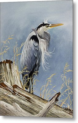 Metal Print featuring the painting Herons Windswept Shore by James Williamson