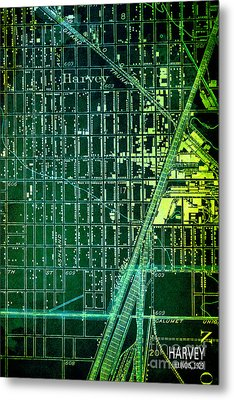 Harvey Old Green Map Year 1929 Metal Print