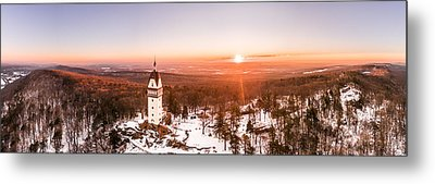 Heublein Tower In Simsbury Connecticut, Winter Sunrise Panorama Metal Print by Petr Hejl