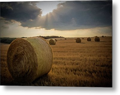 Hey Bales And Sun Rays Metal Print by David Dehner