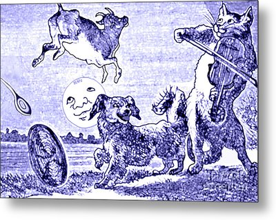 Hey Diddle Diddle The Cat And The Fiddle Nursery Rhyme Metal Print by Marian Cates