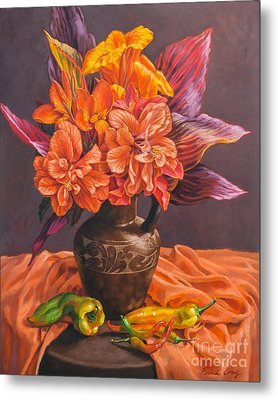 Hibiscus And Cannas In Balinese Jug Metal Print by Fiona Craig