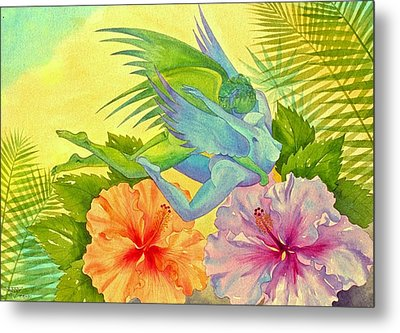 Hibiscus Faeries Metal Print by Jennifer Baird