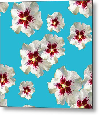 Metal Print featuring the mixed media Hibiscus Flower Pattern by Christina Rollo