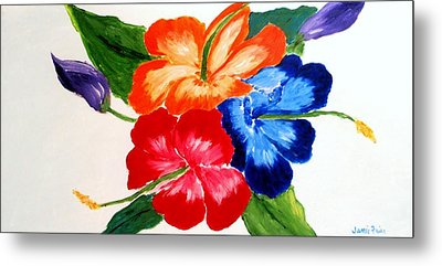 Metal Print featuring the painting Hibiscus by Jamie Frier