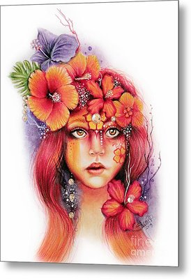 Metal Print featuring the drawing Hibiscus by Sheena Pike