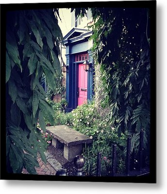 Hidden Garden Door Metal Print