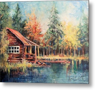 Hide Out Cabin Metal Print by Linda Shackelford