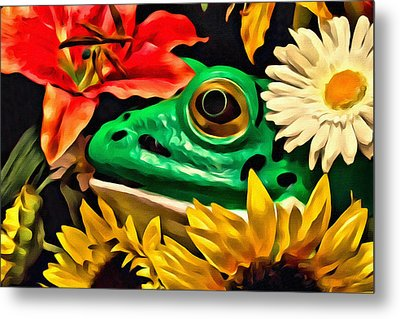 Hiding Frog Metal Print by Jeff  Gettis