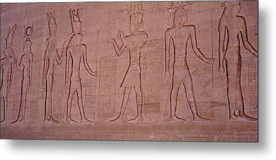 Hieroglyphics And Carvings On The Wall Of Temple Of Edfu Metal Print