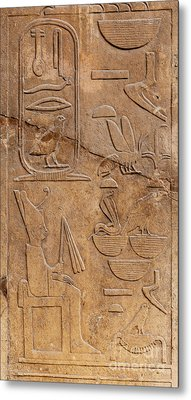 Hieroglyphs On Ancient Carving Metal Print