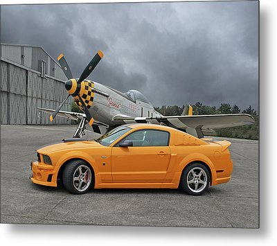 High Flyers - Mustang And P51 Metal Print by Gill Billington