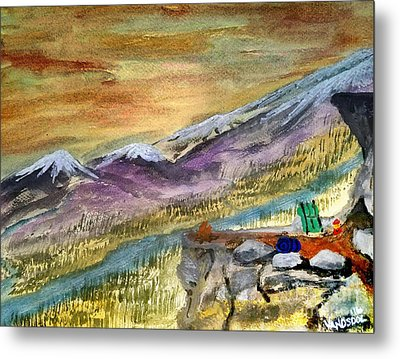 High Mountain Camping - Enhanced Coloring Metal Print by Scott D Van Osdol