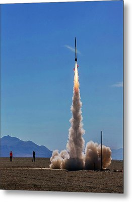 Metal Print featuring the photograph High Power Rocket Certification Flight by Peter Thoeny