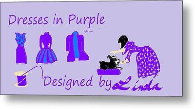High Style Fashion, Dresses In Purple Metal Print by Linda Velasquez