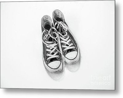 Metal Print featuring the digital art High Tops In Snow Black And White by Randy Steele