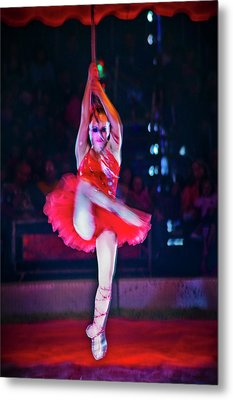 High Wire In Red Metal Print