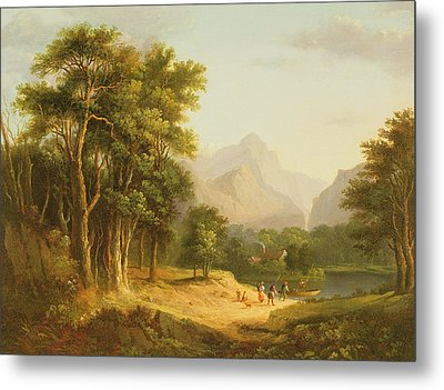 Highland Landscape With Figures Metal Print by Alexander Nasmyth
