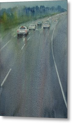 Highway On The Rain02 Metal Print