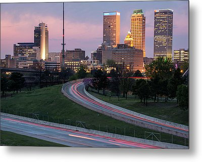 Metal Print featuring the photograph Highway To The Tulsa Oklahoma Skyline by Gregory Ballos