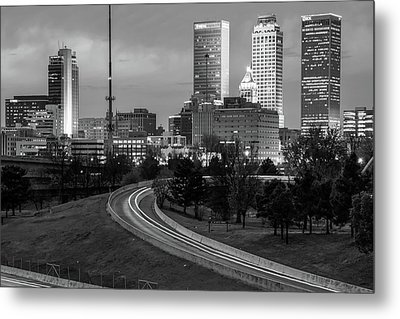 Metal Print featuring the photograph Highway View Of The Tulsa Skyline At Dusk - Black And White by Gregory Ballos