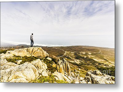 Hiker Man On Top Of A Mountain Metal Print by Jorgo Photography - Wall Art Gallery