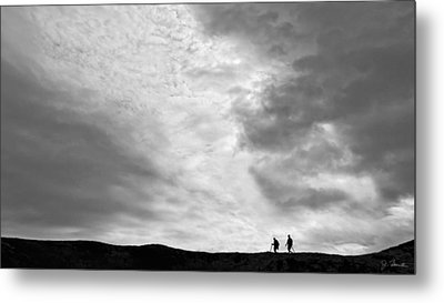 Metal Print featuring the photograph Hikers Under The Clouds by Joe Bonita