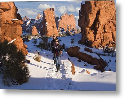 Hiking In Arches National Park Metal Print by Utah Images