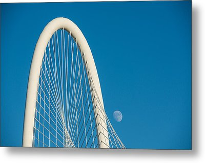 Margaret Hunt Hill Bridge With Day Moon Metal Print by Tod and Cynthia Grubbs