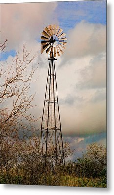 Metal Print featuring the photograph Hill Country Windmill by Michael Flood