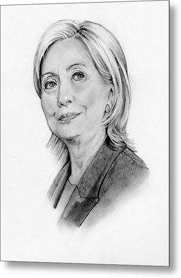 Hillary Clinton Pencil Portrait Metal Print by Joyce Geleynse