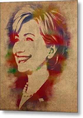 Hillary Rodham Clinton Watercolor Portrait Metal Print by Design Turnpike