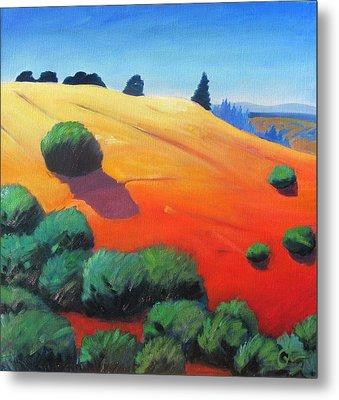 Metal Print featuring the painting Hills And Beyond by Gary Coleman