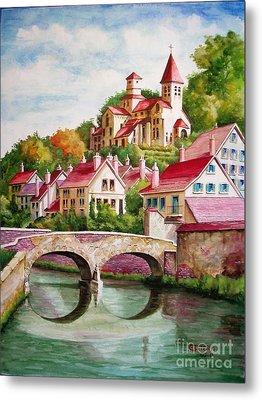 Hillside Village Metal Print by Charles Hetenyi