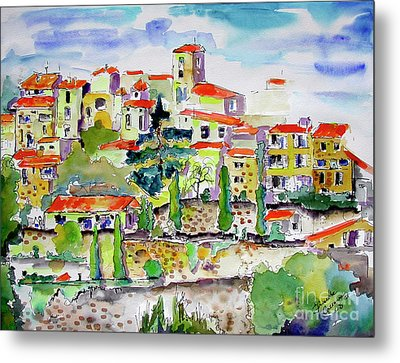 Hillside Village In Provence Metal Print by Ginette Callaway