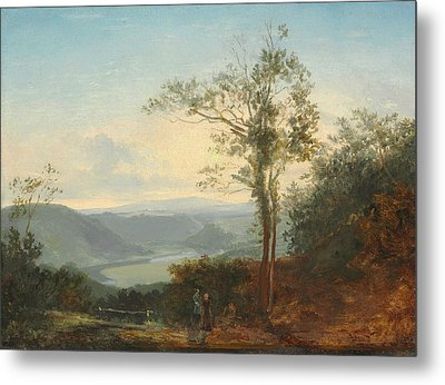 Hilly Landscape With A River In The Valley Metal Print