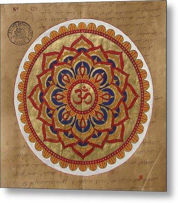 Hindu Vedic Artwork Om Yoga Kundalini Meditation Mandala Painting Artist India Metal Print