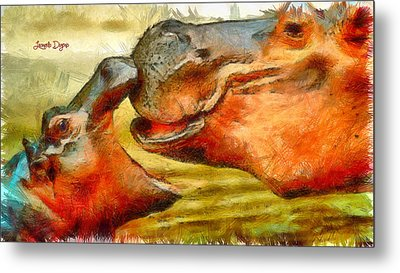Hippo Family - Pa Metal Print by Leonardo Digenio