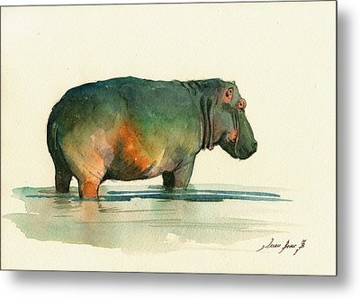Hippo Watercolor Painting Metal Print by Juan  Bosco